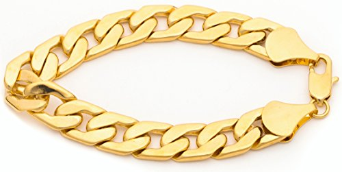 Bracelet Gold Chain Link - Best Cuban Link Bracelet 11mm, Flat, Wide, Premium Fashion Jewelry, Real 24K Gold on Semi-Precious Metals, Thick Layers Help it Resist Tarnishing, 100% FREE LIFETIME REPLACEMENT GUARANTEE 8 Inches
