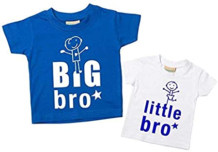 Camisetas con inscripción en inglés «Big Bro» y «Little Bro», set de camisetas para hermanos bebés Talla:Little 0-6 Months Big 3-4 Years