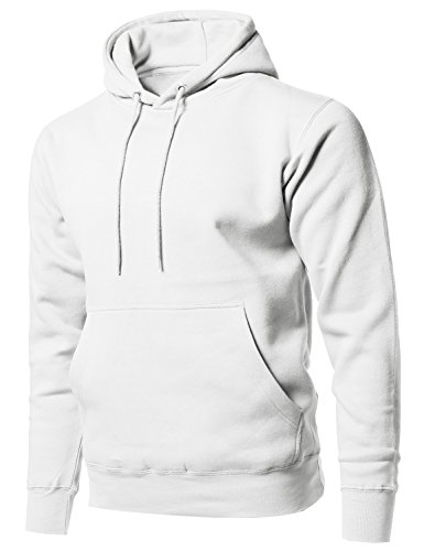 Style by William Causal Solid Soft French Terry Long Sleeve Pullover Hoodie White - Sleeve Sweatshirt Cotton Long