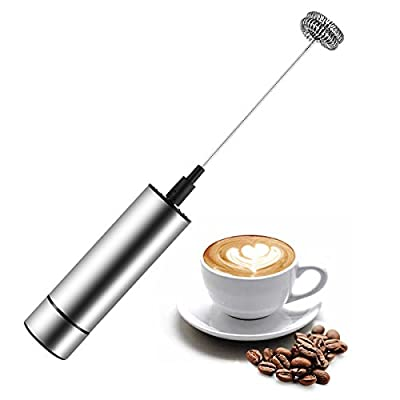 Milk Frother, JOANBETE Handheld Electric Portable Foamer and Drink Mixer, Battery Powered and Stainless Steel with High Torque Motor for Cappuccinos, Lattes, Matcha, and Bulletproof Coffee