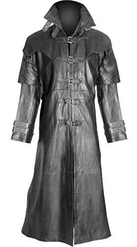 Mens Real Black Sheep Leather Coat Goth Matrix Trench Coat Steampunk Van -