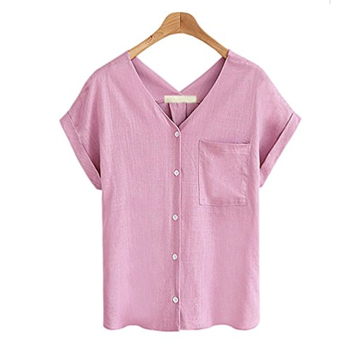 FINCATI Shirts Women Flax Textured Cotton Tops V Neck Buttons Pocket Casual Loose T Shirt Blouse (A-Pink, L)