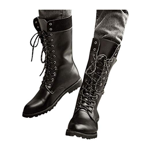 Black Tide High Boots for Mens Casual Engineer Lace Up Buckle Leather Motorcycle Shoes (US:9.5-10, Black)
