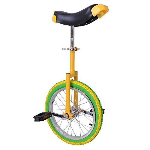"""16"""" Wheel Yellow & Green Adjustable Height Unicycle Balance Exercise"""