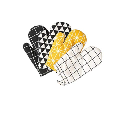 - Hty Nordic Style Cotton and Hemp Heat Insulation and Anti-scalding Gloves, Oven Microwave Oven Baking Gloves Modern Simplicity, A Variety of Styles 1426.5cm (Color : E)