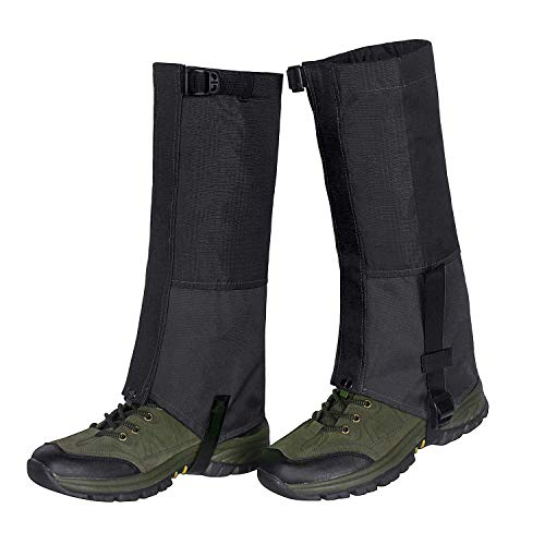 Waterproof Snow Boot Gaiters 600D Anti-Tear Oxford Fabric for Outdoor Hiking Walking Hunting Climbing Mountain (Black, XL) ()