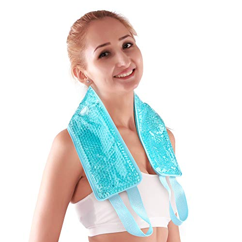 (NEWGO®Neck Ice Pack Cooling Gel Neck Wrap with Soft Plush Backing, Hot Cold Pack Gel Bead Ice Pack for Neck & Shoulder Pain Relief (24.8