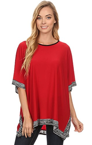 Love My Seamless Ladies Solid Short Sleeve Relaxed Fit Tunic Striped Asymmetric Hem Tunic Tops