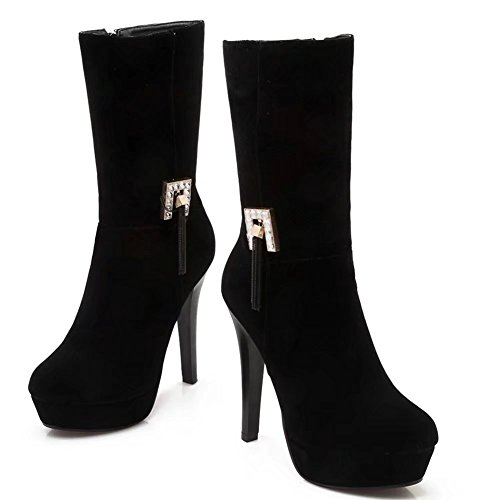 KingRover Women's High Heel Pointed Toe Faux Suede Party Wedding Ankle Boots Black CmjIk8