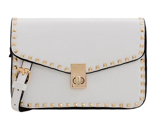Bags Body Shoulder Handbag Bag 255 LeahWard White Cream Shoulder Women's Studded Cross qwRgBIt