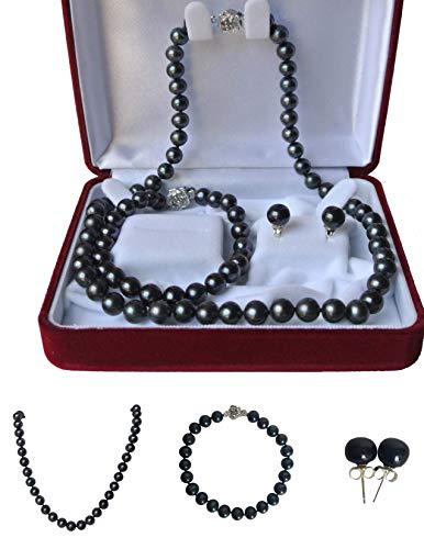 Pearl Romance Round Black Strand Pearl Necklace Bracelet Stud Earrings 3pc Set Genuine Cultured Freshwater 6mm 7mm 8mm 9mm 10mm 11mm 16 18 20 24 30 36 inch Long (20, 9.0-9.5mm)