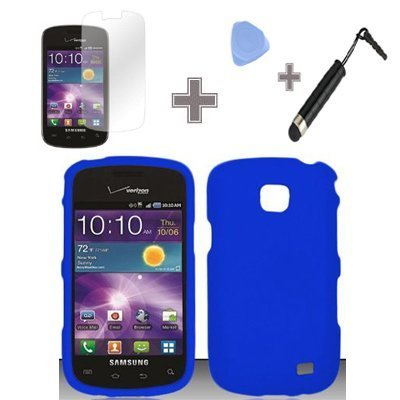 4-Items-Combo-Case-Screen-Protector-Film-Case-Opener-Stylus-Pen-Rubberized-Solid-Blue-Color-Snap-on-Solid-Case-Hard-Case-Skin-Cover-Faceplate-for-Samsung-Illusion-Galaxy-Proclaim-i110-Verizon-Straight