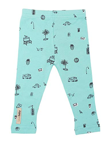 L'ovedbaby Unisex-Baby Organic Cotton Leggings (6-9 Months, Aqua Itty Bitty City) ()