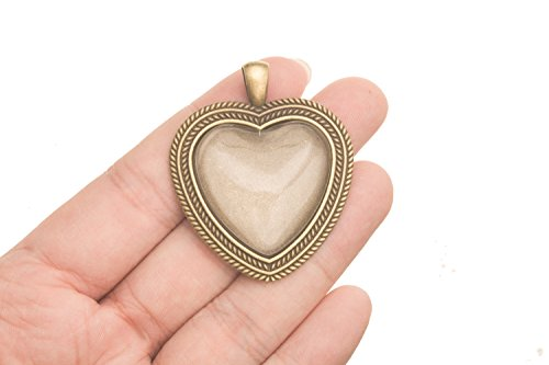 www.Beadingsupplys.com message locket heart antiqued brass lockets that holds pictures Glass Dome 3 counts -