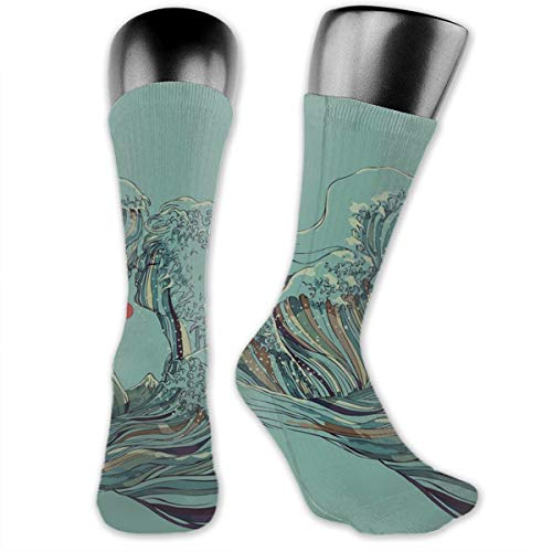 SARA NELL Men & Women Classics Crew Socks The Great Wave Couple Kiss Thick Warm Cotton Crew Winter Socks Personalized Gift Socks for $<!--$12.99-->