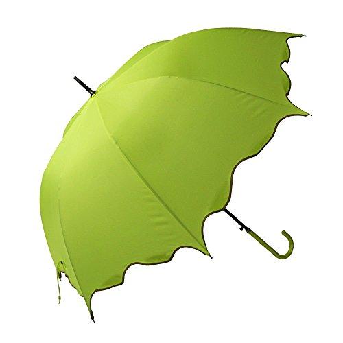Light Green Auto Open Windproof Umbrella Flouncing Rain Umbrella Princess Dome Parasol Long by Umbrella Compact
