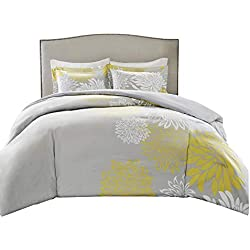 Comfort Spaces – Enya Comforter Set - 5 Piece – Yellow, Grey – Floral Printed – Full/Queen Size, Includes 1 Comforter, 2 Shams, 1 Decorative Pillow, 1 Bed Skirt