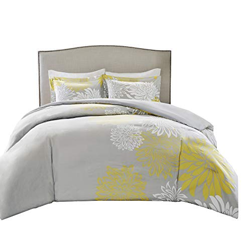 Comfort Spaces Enya 5 Piece Comforter Set Ultra Soft Hypoallergenic Microfiber Floral Print Bedding, Full/Queen, Yellow/Grey (Light Yellow Comforter)