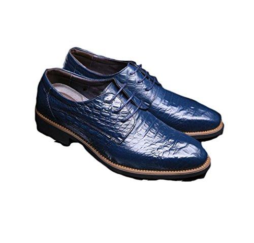 Scarpe in Pelle da Uomo Casual Business Morbido Arrotondato A Strisce A Strisce Primavera Estate Autunno Inverno Sport A Colori Blue