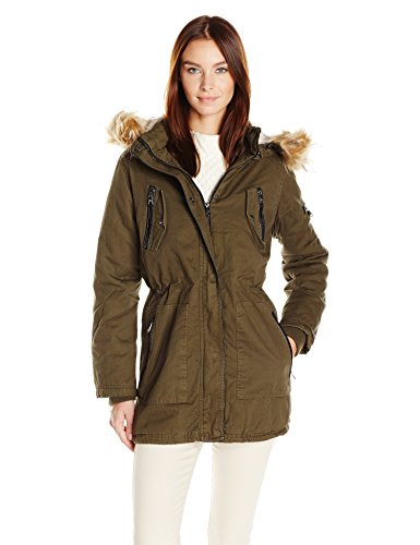 Steve Madden Women's Cotton Anorak with Zip Pockets, Olive, S ()
