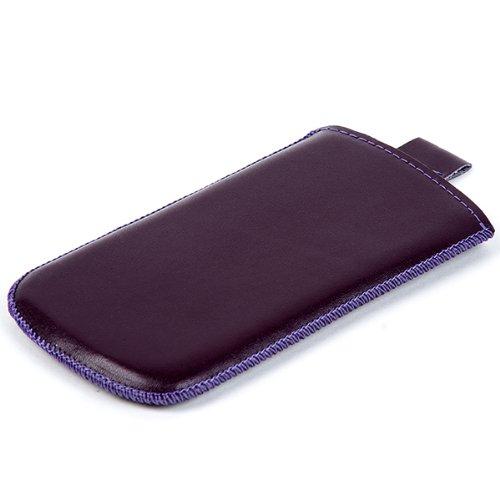NFE² Echtleder Etui violett mit Ausziehlasche für Apple iPhone 4