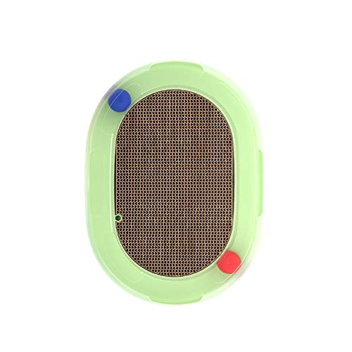 LFOEwpp7 Cat Toy, Oval Kitten Cat Supplies Scratch Pad Plate Rotating Ball Spring Mouse Interactive Toy Green