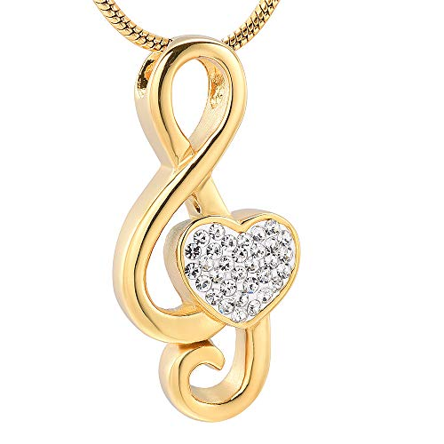 Crystal Heart Music Note Memorial Jewelry For Cremation Ashes -Gold Keepsake Urn Necklace Hold Ashes