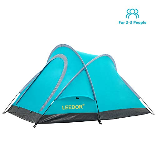 Leedor 2-3 Person Outdoor Family Camping Tent, Waterproof Backpacking Foldable Dome Tent with Carrying Bag, Lightweight & Quick Setup