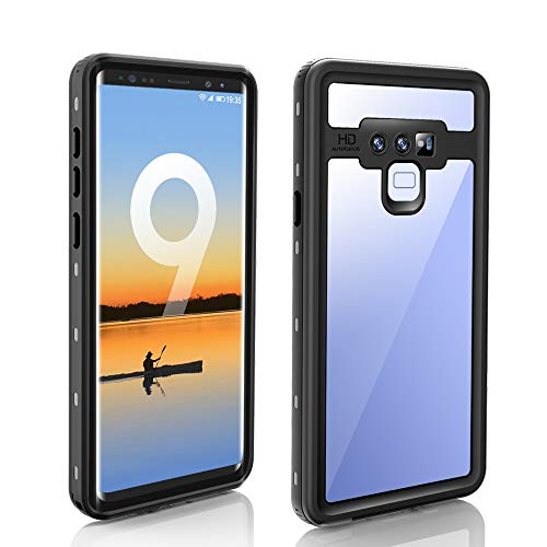 - Galaxy Note 9 Waterproof Case,Built-in Screen Protector Underwater IP68 Certified Waterproof Shockproof Full-Body Protective with Transparent Back Cover Case for Samsung Galaxy Note 9 (Black)
