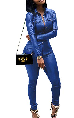 Women's Sexy Long Sleeve V Neck Shirts Button Down Tops 2 Piece Outfits Faux Leather Skinny Pants Set Plus Size Blue