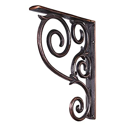 "One Pair- Brushed Copper- Metal (Iron) Scrolled Bar Brackets-1-1/2"" X 10"" X 13-1/2"" from Alabama Cabinet Supplies"