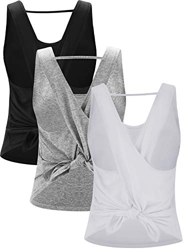 (RUNNING GIRL Women's Cross Back Yoga Shirts Activewear Workout Clothes Scoop Neck 3 Pack Racerback Tank Tops (3Pack,L))