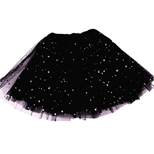 KSHQZ Girls Layered Stars Sequins Tutu Skirt Princess Ballet Dance Dress Bubble Skirt for Gift (2-10Y, Black) -