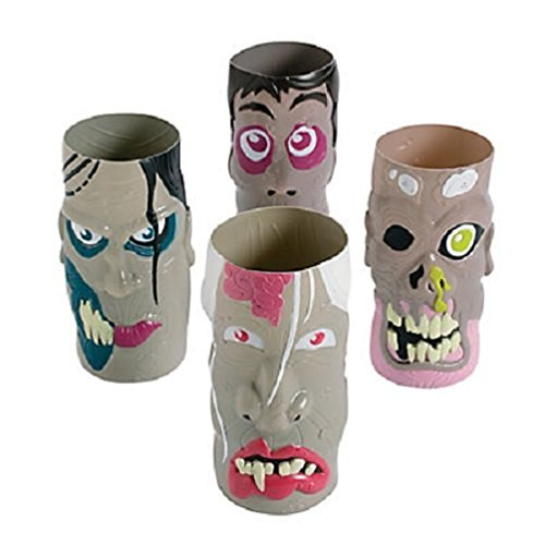 Set of 12 DELUXE LARGE PLASTIC MOLDED COLORED ZOMBIE CUPS ~ Holds 28oz ~ 7