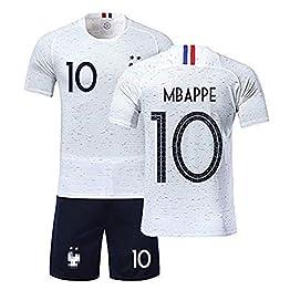 Wywei Maillots de Sport Garçon Ensemble de T-Shirt et Short Football T-Shirt et Short France 2 Étoiles Vêtements de Football Beau Populaire pour Enfant Garçon (Blanc 10 Mbappe, T22)