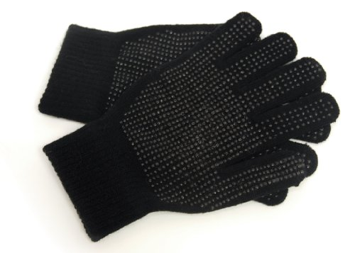 Dotted Mens Glove - Mens Warm Stretchy Magic Gripper Gloves in Black with Dotted Grips