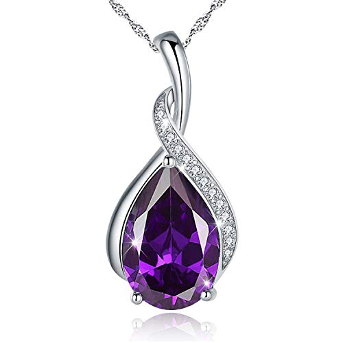 EURYNOME 925 Sterling Silver Tear drop Purple Birthstone Pendant Necklace Jewelry Gifts for Mom Lover Women Girls