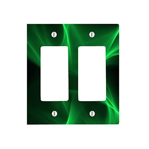 Green Swirl Effect Design 2 Gang Decorator Dimmer Wall Plate (4.75 x 4.69in)