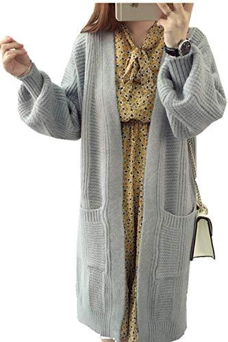 Pullover Prendas Abierto Bolsillos Largas Tejido Grau Exteriores Battercake Con Cómodo Relaxed Manga Caliente Mujer Outerwear Mujeres Larga Otoño Casual Abrigo Invierno Casuales XwRAIxIT