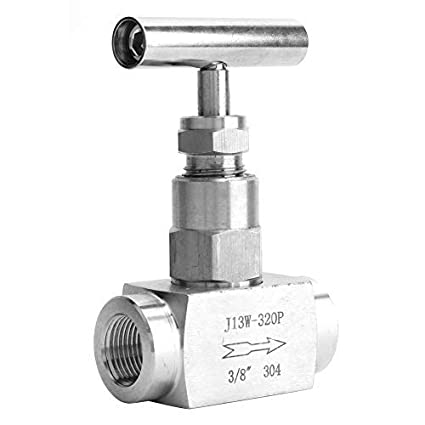 Beennex BSPP Female Thread Needle Valve 304 Stainless Steel Angle Type Stop Valve for Water Gas Oil Fuel 1//8