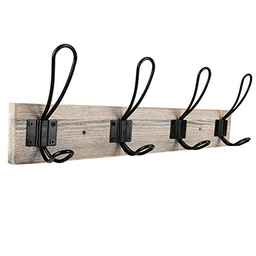 (Sageme Wall Mounted Coat Rack, Wooden Entryway Vintage Rustic Coat Rack Hat Hanger Rack 4-Hook Rail for The Entryway, Bathroom, Bedroom, Kitchen, Mudroom Solid Wood (4 Hooks, Black))