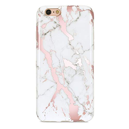 (GOLINK iPhone 6 Case/iPhone 6S Case for Girls, Shiny Rose Gold Marble Series Slim-Fit Ultra-Thin Anti-Scratch Shock Proof Dust Proof Glossy TPU Case for iPhone 6/6S4.7