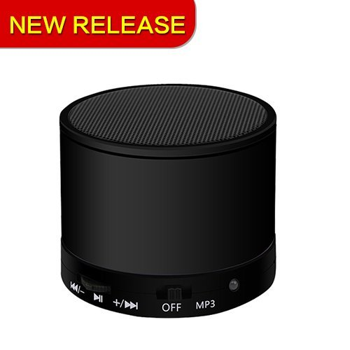 Wireless Bluetooth Speaker, Portable Stereo Outdoor Sports Lightweight Round Design Waterproof for Bathroom, Pool, Boat, Car, Beach, Outdoor Etc-Black