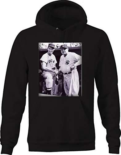 Greatest Sweatshirt (Babe Ruth & Ted - Sox Yankees Baseball Greatest Vintage Sweatshirt - Medium Jet Black)