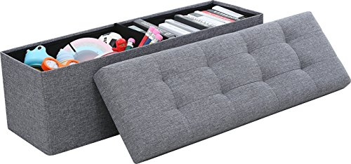 Ornavo Home Foldable Tufted Linen Large Storage Ottoman Bench Foot Rest Stool/Seat - 15