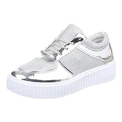 huge selection of 3f710 a91f2 Damen Freizeitschuhe Plateau Sneaker Metallic Look silber Gr ...
