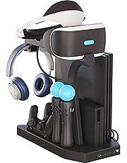Fisound Multifunction Vertical Stand For PS4,Slim,Pro,PSVR,PSVR2,Charging Station, Cooling Fan Cooler,Headset Storage Holder, Docking Station Charger Dock,DualShock 4 Controller, 4Port USB Hub