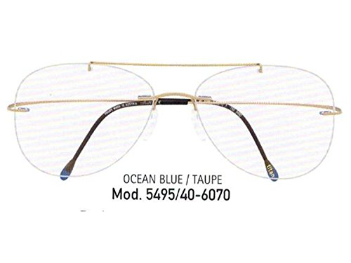 Silhouette Eyeglasses Titan Minimal ART Pulse w/ Demo Lens (OCEAN BLUE / TAUPE, ONE SIZE)