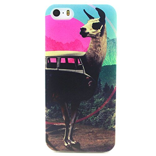 iPhone 5s Case, Hongqing Shop Fashion Pattern Design Ultra Slim Thin TPU Rubber Soft Back Cover Protective Skin Case for Apple iPhone 5/5S (Alpaca Vans)