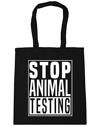 HippoWarehouse Stop Animal Testing Tote Shopping Gym Beach Bag 42cm x38cm, 10 litres Black